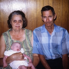 MOM & DAD (Fannie & Curtis Stewart - Gerry's parents).  Baby- Cheri (McConnell) Boer (Gerry's Niece)