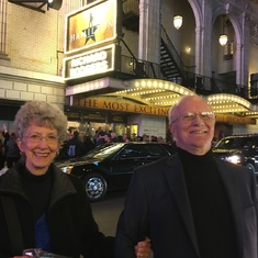 One of Glenn and Sue's great loves -- theater.   At Hamilton with the original cast in NY.