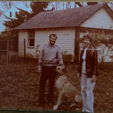 Glenn & Sue in their backyard with their little dog Mousse. 1978.