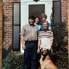 Glenn and Sue with their niece Patty and her husband Jim and of course their beloved dog Mousse. 1978.