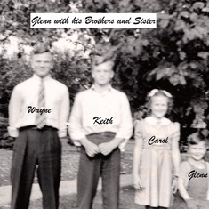 Glenn (far right, born 1935) with his older brothers Wayne (left, born 1921) and Keith (2nd from left, born 1926) and his older sister Carol (2nd from right, born 1931).