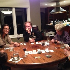 An avid card player, Sue, Glenn his brother Keith, his nephew Craig & his grand niece Jamie.