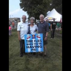 Glenn and Sue with her brother, John at Pie Days in Braham, Minnesota.