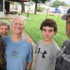 Glenn and Sue with niece Jody, her husband Pete and son Tyler in Prairie Farm Wi (Aug 2015).