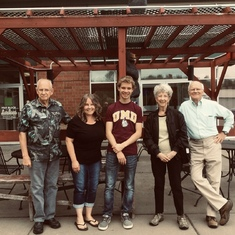 Glenn and Sue with Sue's brother John, niece Jody and her son Dylan having lunch in Wi (Aug 2017).