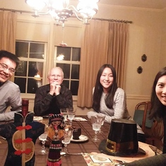 Thanksgiving 2016 - Glenn and Sue at home with their international student guests from Princeton