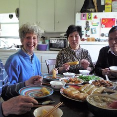Glenn and Sue were invited to our apartment for a Chinese style lunch (with our parents) in 2012.