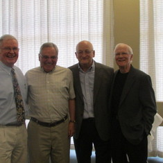 Bill Guthrie, Tom Nettl, Dave Pierfy, Glenn at Dave's retirement party May 2014