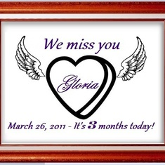 Gloria we miss you - It's 3 months today, March 26, 2011