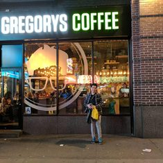 Gregory in front of Gregory's Coffee, NYC, February 2017