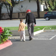 Ben and his Opa off to lunch Christmas Eve 2010.