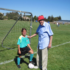 Opa attends one of Katie's soccer games, and she scored a goal.  He was thrilled!!