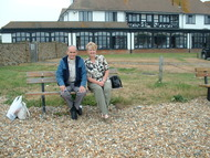 Bexhill on Sea on the beach had lunch in the restaurant behind us