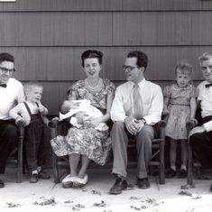 20 April 1958 in Glassboro. Left to right: Brother in law David W Conrad, first son David J Conrad, Helen holding second son William K Conrad (10 days old), husband Lawrence H Conrad, Jr, first daughter Carol M Conrad, father in law Lawrence H Conrad, Sr.
