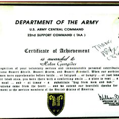 U.S. Army citation for volunteer service in a war zone.