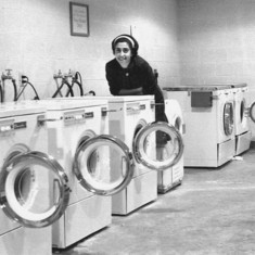 Baffled by an array of washing machines, Univ. of Kentucky, Sept. 1962.