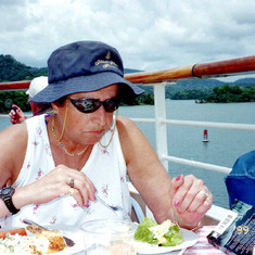 Eating (what else!) her way through the Panama Canal, April 1999.