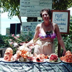 Fruit carving demonstration, Bali, March 1992.
