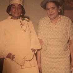 "My Mama Luevia (also known as ""SuLue"") with her ""Baby Sister"", Inatio at my wedding in June, 1970."