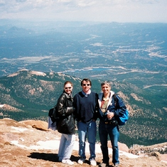 With son Alan and daughter-in-law Renee on top of Pikes Peak - 2001