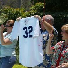 Valerie gave her Dad a Dodgers shirt