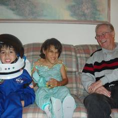 Jack with Grandaughter Hayley and Grandson Adam on Halloween 2005.