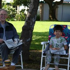 Camping with Grandson Adam.