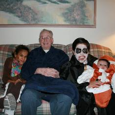 Jack with Grandchildren Hayley and Adam and Great Grandson Jake on Halloween 2010.