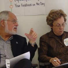 Jack and Ann Neale deep in conversation during a health reform dialogue in St. Petersburg, FL, in 2005.