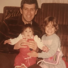 Jim with his two girls, 1983.