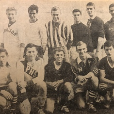 1962 All State Soccer Team 2nd from R. Top row Jim Haas, on his right John Scarano & Joe Casey below