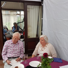 Janet and Keith at our garden party, June 2018