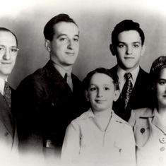 The first family picture - Father and mother Ben and Ann with sons Orville, Jay and Myron.  (In case you're wondering, Jay is the dashing one).