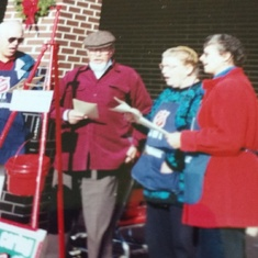 Singing outside Meyer Dairy Christmas 1999 with Karl and Evelyn Bartsch.