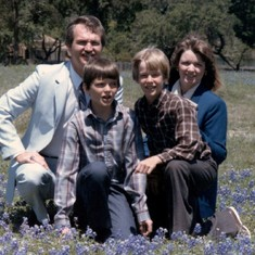 family photo with bluebonnets