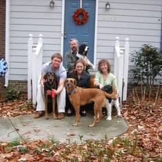 John, Alison, Katie, and Chris, with dogs (Shona, Molly, Hazel, and Jethro) for Thanksgiving (2006)