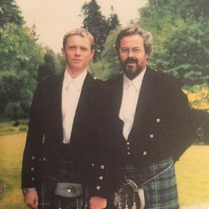John and Chris in kilts