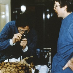 John doing an endoscopy on a cheeta with a tummy ache in London.