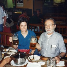 John and Sharon enjoying pints with Karl and Doris in Munich