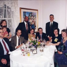 Sharon and John's wedding at Crabtree's Kittle House. They are surrounded by friends Paco Curbera and  Marisa Martin with their daughter Julia, Kevin Wilkinson, Qasim and Molly Zaidi, Peter and Frances Lennie, and Sharon's brother Roger Greene.