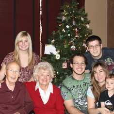 Dad with Mom and grandchildren Jenna,Justin,Josh,wife Tiffany and great grandson Mason 12/24/2010