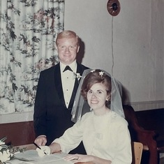 "John Prosje and Marlene Hyslop ""Marriage on 8-31-1968 at 4.00pm"". Case United Church, Glanford Township."