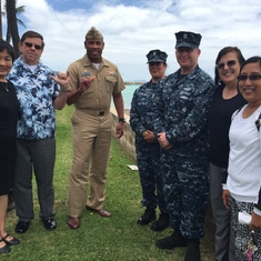 Jon, Kertreck, and Pearl Harbor Navy College Office Staff after lunch group photo on August 24, 2017