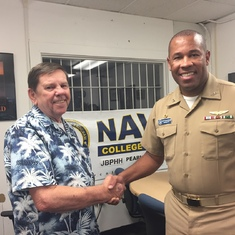 Jon and Kertreck at Pearl Harbor Navy College Office on August 24, 2017