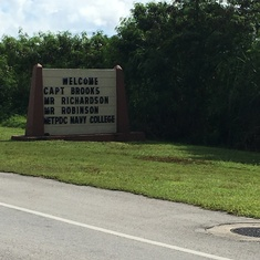 Welcome sign for Jon, Kertreck, and David upon arrival in Guam on August 2017