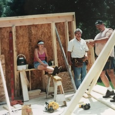 Working on the upper story of our addition with my dad. 2000.