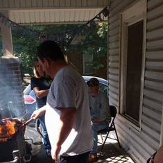 Dad was grilling burgers for my 21st birthday.