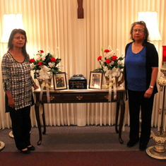 Joe's memorial service. His sisters Chris (left) and Shirley (right). Thursday, June 2nd, 2016.