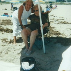 Joyce and Mom at the  beach