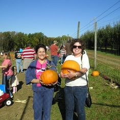 Judi & Linda at the pumpkin patch 2010.